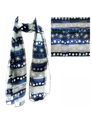 Satin Scarf - Winter Pattern Navy & Silver