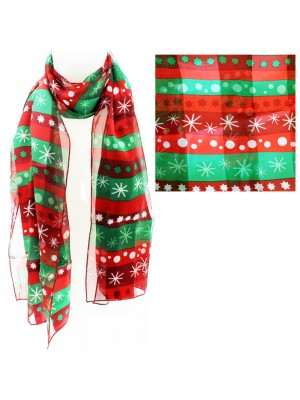 Satin Scarf - Winter Pattern Red & Green
