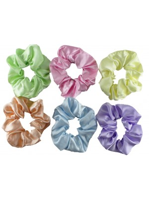 Wholesale Satin Scrunchies In Pastel Colours - Assorted