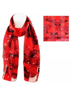 Ladies Christmas Theme Santa Design Scarf - Red