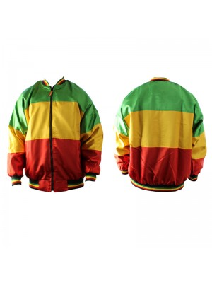Satin Zip Bomber Jacket Rasta Colours Assorted Sizes