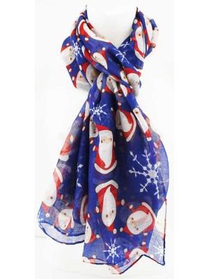 Wholesale Ladies Santa Design Cotton With Foil Scarf - Assorted Colours