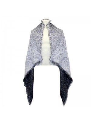 Ladies Knitted Poncho Scarf - Black and White