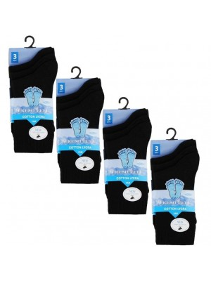 Wholesale Black Ankle High School Socks - Fresh Feel (UK - 4-7)