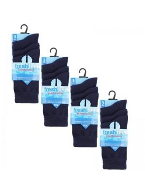 Wholesale Navy Ankle High School Socks - Fresh Feel (UK - 4-7)