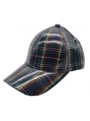 Scottish Tartan Print Adjustable Baseball Cap - Navy