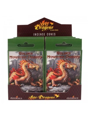 Wholesale Golden Mountain Dragon Anne Stokes Incense Cones - 12 Packs