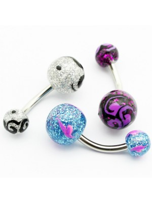 Screw-able Belly Bars - Glitter with Swirls