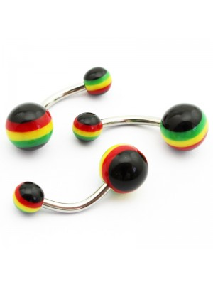 Screw-able Belly Bars - Rasta Colours