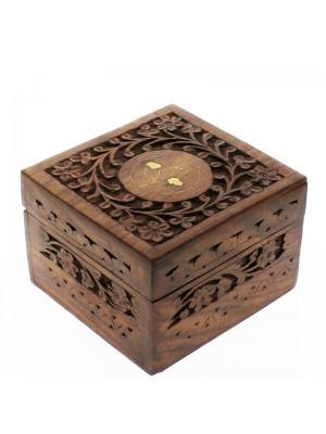 Sectioned Carved Flowers Wooden Storage Box For 9 Essential Oils