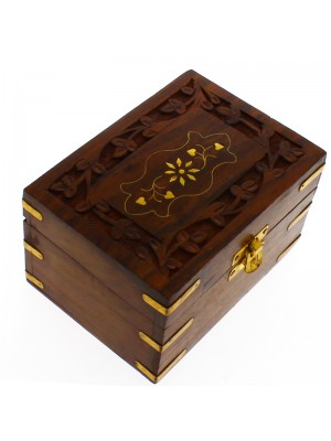 Sectioned Carved Wooden Storage Box For 6 Essential Oils- Brass Inlay