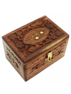 Sectioned Carved Wooden Storage Box For 6 Essential Oils- Flower Brass Inlay