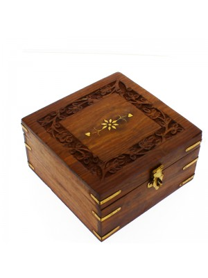 Sectioned Carved Wooden Storage Box For 9 Essential Oils 14x14x8cm
