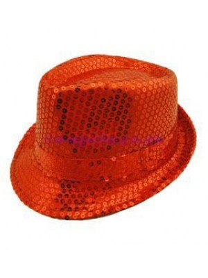 Sequin Trilby - Red