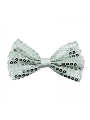 Sequin Bow Tie - Silver
