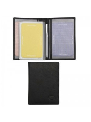 Wholesale Men's Florentino Leather Card Wallet With 15 Card Slots - Black