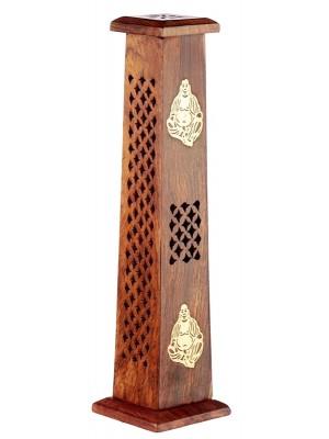 Sheesham Wood Ashcatcher Incense Sticks Tower Burner With Chinese Buddha Inlay