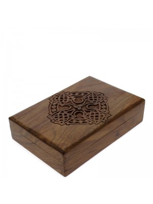 Mangowood Wooden Box With Celtic Cross Carving 8cm x 5cm