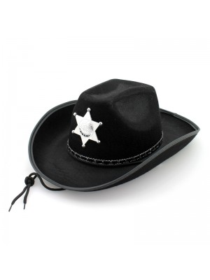 Sheriff's Cowboy Hat With Cord - Black