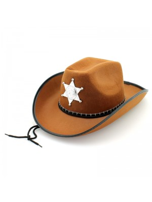Sheriff's Cowboy Hat With Cord - Brown