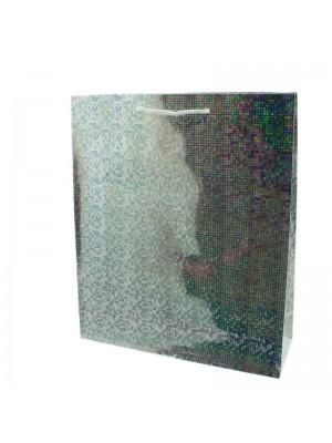 Shiny Silver Gift Bags - Medium (27cm x 23cm x 8cm)