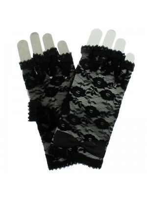 Short Fingerless Lace Gloves With Bow - Black