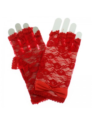 Short Fingerless Lace Gloves With Bow - Red