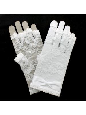 Short Fingerless Lace Gloves - White