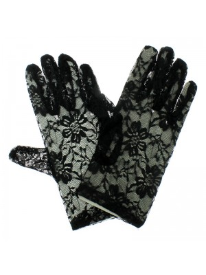 Short Lace Gloves With Fingers - Black