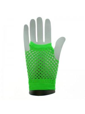 Short Ladies Fishnet Gloves - Neon Green