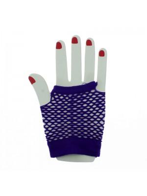 Short Ladies Fishnet Gloves - Purple