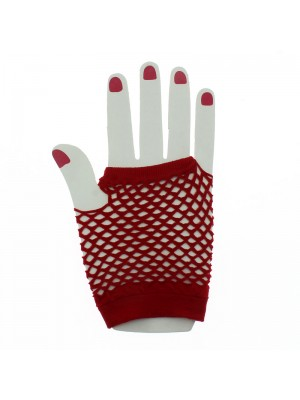 Short Ladies Fishnet Gloves - Red