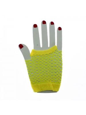 Short Ladies Fishnet Gloves - Yellow
