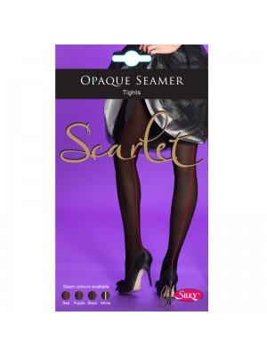 Silky Scarlet Opaque Seamer Tights- Black/Purple (Medium)