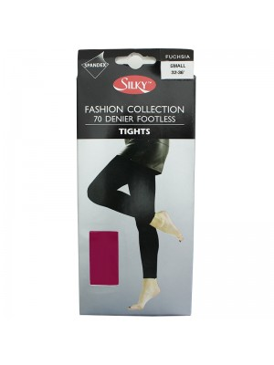 Silky 70 Denier Footless Fashion Tights - Fuchsia Pink (Small)