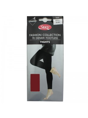 Silky 70 Denier Footless Fashion Tights - Red (Small)