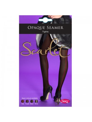 Silky Scarlet Opaque Seamer Tights- Black/Black (Large)