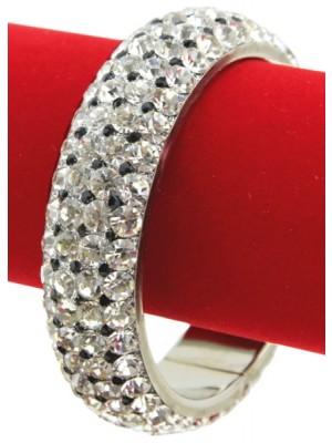 Wholesale Crystal and Black Stones Diamante Bangle - (Size 2*10)