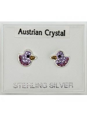 Silver Austrian Crystal Duck Studs-Asst Colours(8mm)