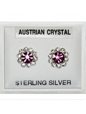 Silver Austrian Crystal Flower Earrings - 7mm