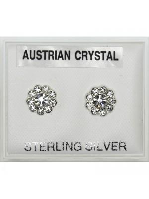 Silver Austrian Crystal Flower Earrings 7mm-Clear