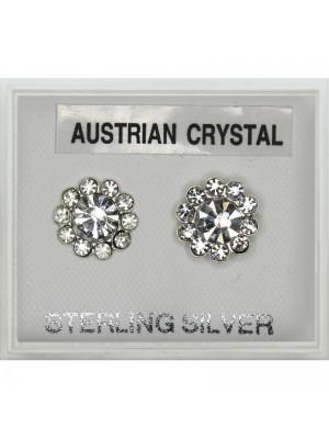 Silver Austrian Crystal Flower Studs-Clear (9mm)