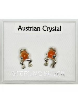Silver Austrian Crystal Frog Studs (9mm)