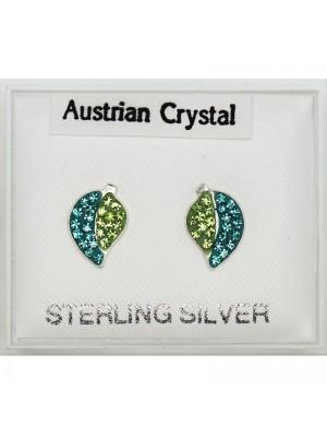 Silver Austrian Crystal Leaf  Studs Asst. (9mm)