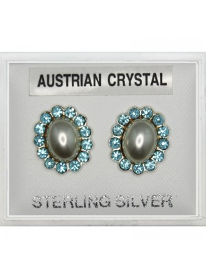 Silver Austrian Crystal Oval Studs -Turquoise(10mm)