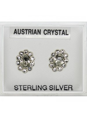 Silver Austrian Crystal Oval Studs-Clear(10mm)
