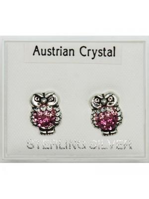 Silver Austrian Crystal Owl Earrings Asst -7mm