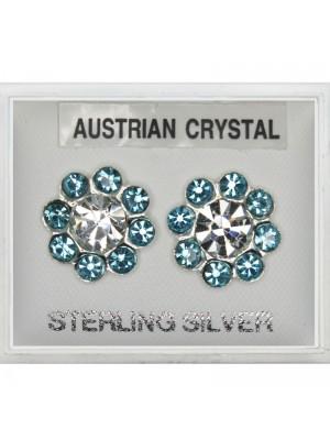 Silver Austrian Crystal Studs - Aqua (13mm)