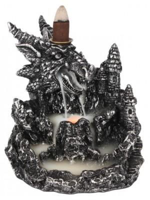Silver Dragon Backflow Incense Burner - 13cm