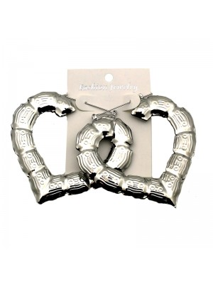 Silver Heart Bamboo Hoop Earrings - 7cm